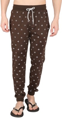 Illicit Nation Printed Men's Brown Track Pants
