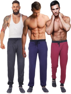 Billu Oye Solid Men's Black, Maroon, Dark Blue Track Pants