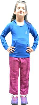 Shaun Printed Girl's Purple Track Pants at flipkart