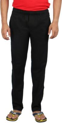 Fizzique Zebra Tape Solid Men's Black Track Pants
