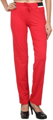 Eimoie Solid Women's Red Track Pants