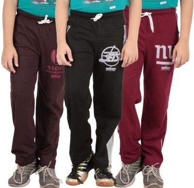 Meril Self Design Boy's Black, Brown, Red Track Pants
