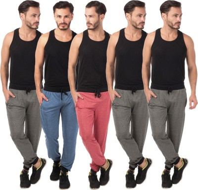 Meebaw Self Design Men's Red, Dark Blue, Grey, Grey, Grey Track Pants