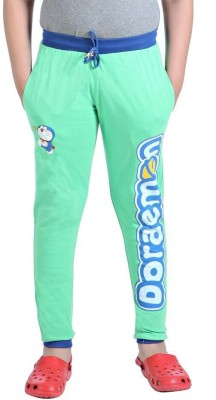 Red Ring Solid Boy's Green Track Pants