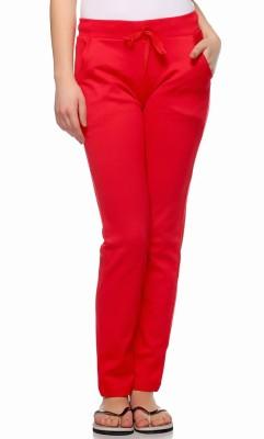 Fasnoya Solid Women's Red Track Pants