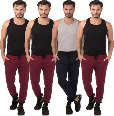 Meebaw Self Design Men's Maroon, Maroon, Maroon, Dark Blue Track Pants