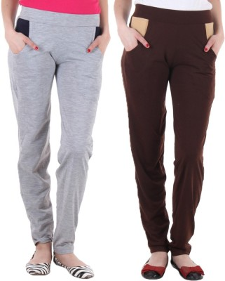 Coaster Solid Women's Grey, Brown Track Pants
