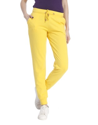Only Solid Women's Yellow Track Pants