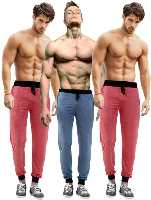 Billu Oye Solid Men's Red, Red, Dark Blue Track Pants