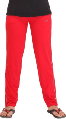 Colors & Blends Solid Women's Red Track Pants