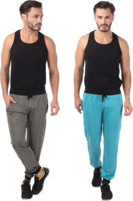 Meebaw Self Design Men's Grey, Blue Track Pants