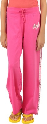 Menthol Embroidered Girl's Pink Track Pants