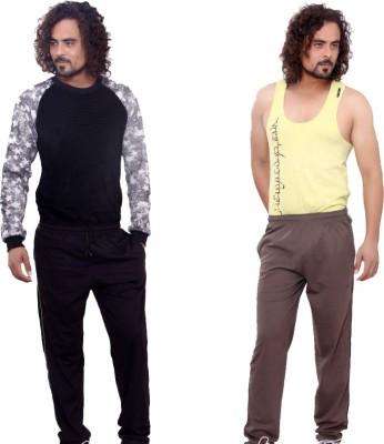 Mountain Colours Self Design Men's Black, Brown Track Pants
