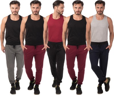 Meebaw Self Design Men's Grey, Black, Maroon, Maroon, Dark Blue Track Pants