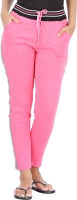 Hbhwear Pro Solid, Striped Women's Pink Track Pants