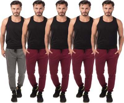 Meebaw Self Design Men's Grey, Maroon, Maroon, Maroon, Maroon Track Pants
