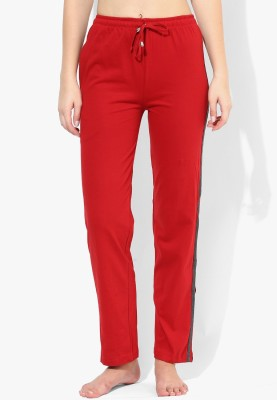 Red Rose Solid Women's Red Track Pants