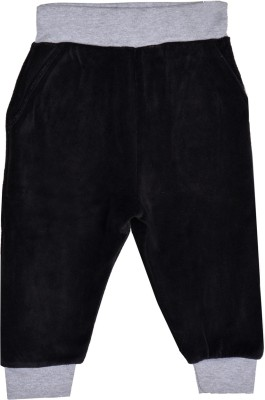 Lil Orchids Solid Girl's Black Track Pants