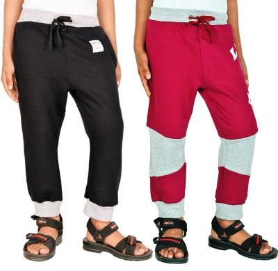 Gkidz Solid Boy,s Black, Maroon Track Pants