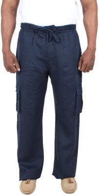 Liash Solid Men's Linen Dark Blue Track Pants