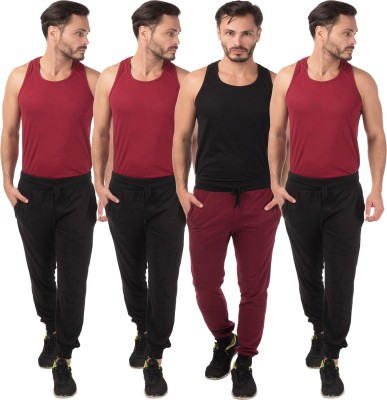 Meebaw Self Design Men's Black, Black, Black, Maroon Track Pants