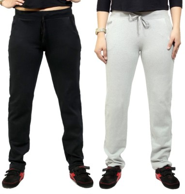 By The Way Solid Women's Black, White Track Pants
