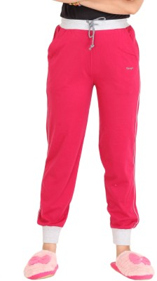 Colors & Blends Solid Women's Pink Track Pants