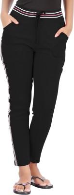Hbhwear Pro Solid, Striped Women's Black Track Pants