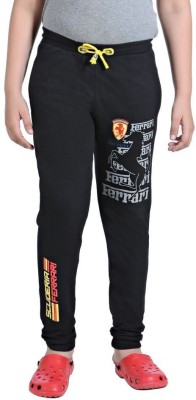 Red Ring Solid Boy's Black Track Pants