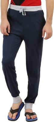 Style Shell Solid Men's Blue Track Pants