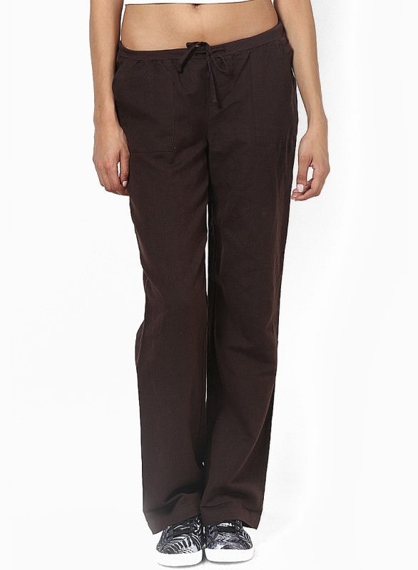 Only Solid Women's Brown Track Pants
