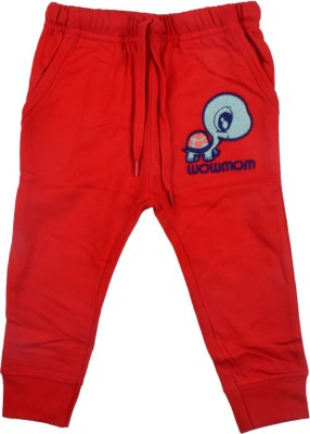 Wow Mom Printed Baby Girl,s Red Track Pants
