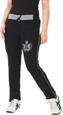 KuuKee Fashion Solid Women's Black Track Pants