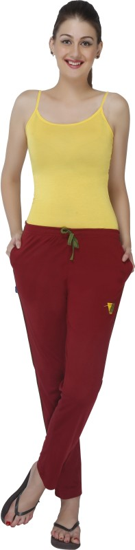 Red Ring Solid Women's Maroon Track Pants
