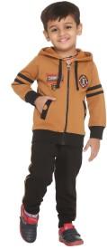 LITTLE STUDIO Boys Casual Track Suit Track Suit(Brown)