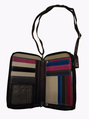 Leather Mall Double Zip Passport Holder Organizer with Shoulder Strap