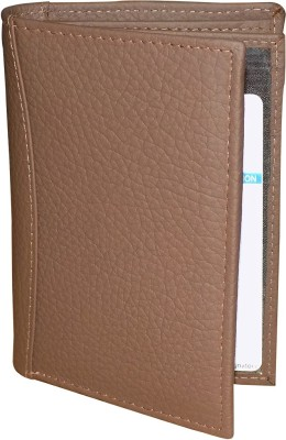 Kan Brown Genuine Leather Travel Document Holder with 8 Card Slots(Brown)