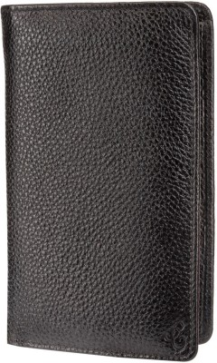 Contrast Mini Document Holder( Passport Holder) in Genuine Black Leather for Men
