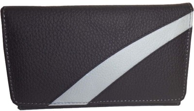 Kan Kan Black and Grey Genuine Leather Designer Travel Wallet For Women