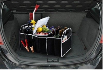 Sky Car Multipurpose Back Seat Trunk & Cooler Insulated Leak Proof Collapsible Interior Vehicle Bag Dining Tray Box Foldable Travelling Beverage Holder Picnic Luggage Carrier