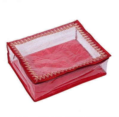 Kuber Industries Quilted Satin Transparent Saree Cover