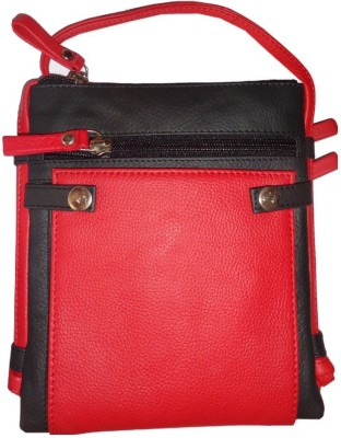 Kan Style 98 Black and Red Genuine Leather Travel Accessories Sling Neck Pouch for Men and Women