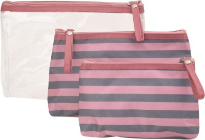 Obvio Transline set of 3 pouches pink-grey(Pink)