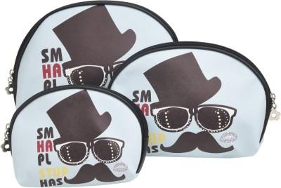 Obvio Half round set of 3 pouches mustache(Sky Blue)