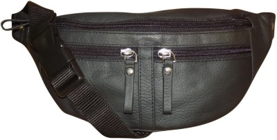 Style 98 Genuine Leather Travel Money Pouch for Men and Women Waist Bag(Black)