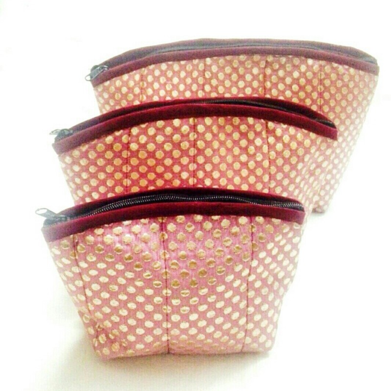 Maheshwari Creations Cosmetic Pouch(Pink, Gold)