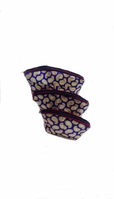 Maheshwari Creations Cosmetic Pouch(Purple, Gold)