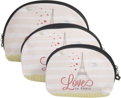 Obvio Half round set of 3 pouches eiffel tower(Cream)