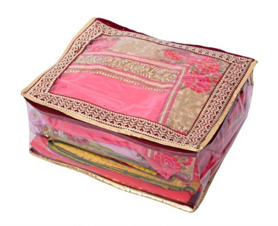 Kuber Industries Quilted Velvet Transparent Saree Cover (Wedding Gift)