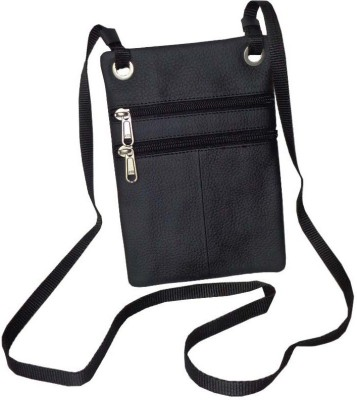 Style 98 Men Casual Black Genuine Leather Sling Bag